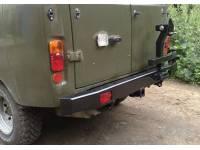 Бампер задний УАЗ 452 с квадратом под фаркоп и калиткой