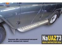 Комплект подножек на УАЗ 469 Хантер усиленные с алюминиевыми накладками и защитой бензобаков